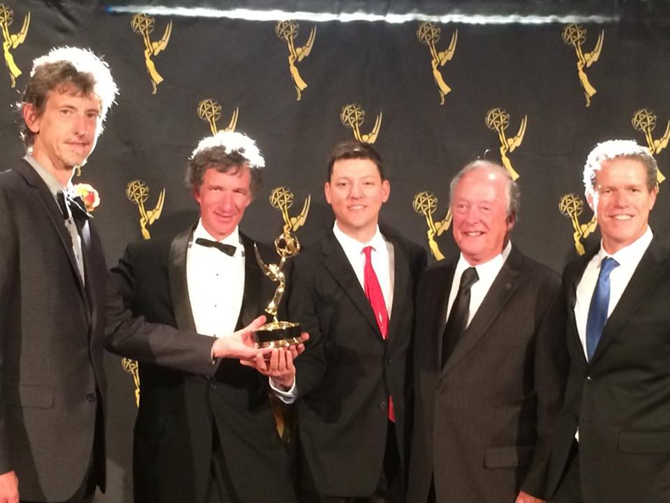 "Charlie Canfield, the Filmsight crew, and Bruce Blanning from PECG with the 2014 Northern CA Emmy for Best Animation In A Doc, in the film ""We've Got The Power""."